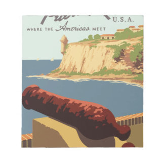 Vintage Travel Poster Puerto Rico Notepad