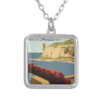 Vintage Travel Poster Puerto Rico Silver Plated Necklace