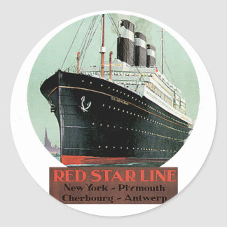 Vintage Travel Poster - Red Star Line Classic Round Sticker