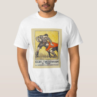 Vintage travel poster, Rugby at Twickenham by tram T-Shirt