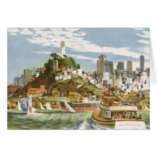 Vintage Travel Poster San Francisco Bay Ferry Boat Card