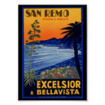 Vintage Travel Poster, San Remo Excelsior Italy Poster