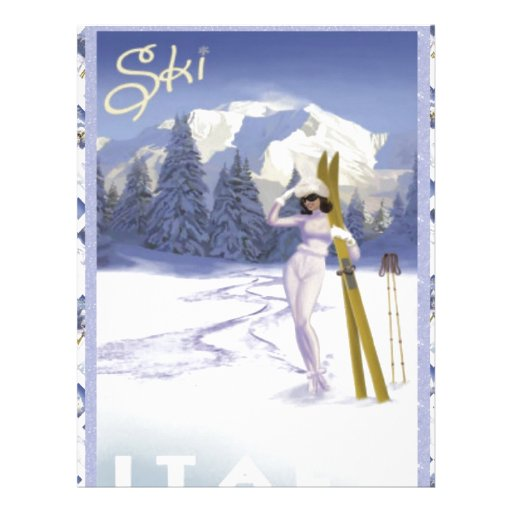 Vintage travel poster, Ski Italy Personalized Letterhead