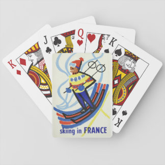 Vintage Travel Poster Skiing In France Playing Cards