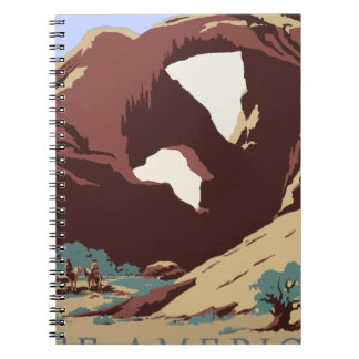 Vintage Travel Poster Southwest America USA Spiral Notebook