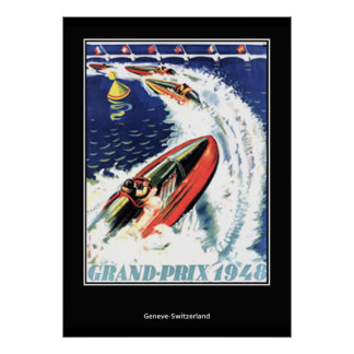 Vintage travel Poster speed Boat Race