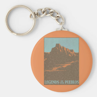 Vintage Travel Poster, Taos, New Mexico Basic Round Button Keychain