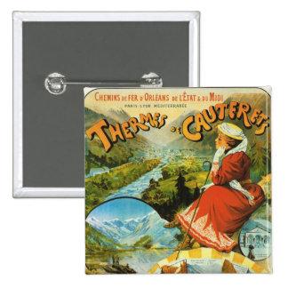 Vintage Travel poster, Thermes de Cauterets 2 Inch Square Button