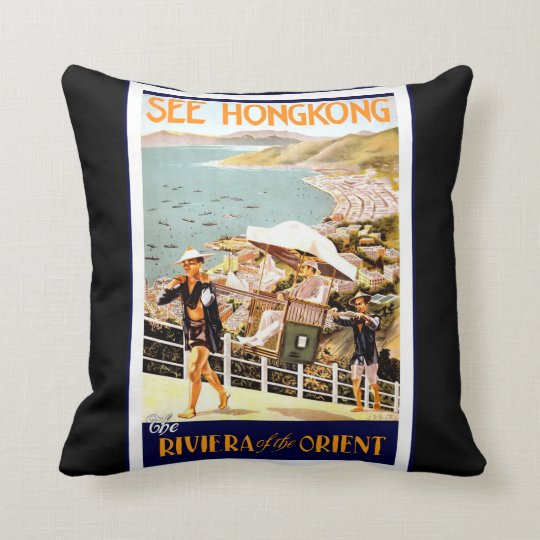 Vintage Travel Poster Throw Pillow