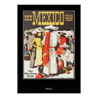 vintage Travel Print Poster Mexico