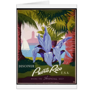 Vintage Travel Puerto Rico Card
