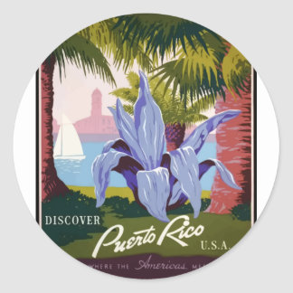 Vintage Travel Puerto Rico Classic Round Sticker