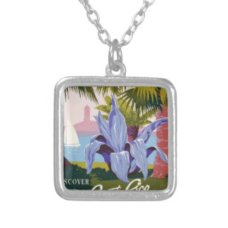 Vintage Travel Puerto Rico Silver Plated Necklace