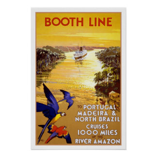 Vintage travel,Quantas-Amazon cruise Poster