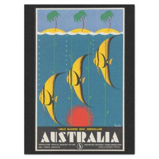 Vintage Travel Reef Fish Queensland Australia Tissue Paper