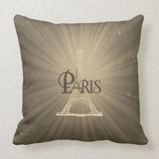 Vintage Travel Retro Style Eiffel Tower Paris Grey Throw Pillow