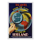 Vintage Travel Round the Globe See Ireland Poster