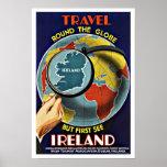 Vintage Travel Round the Globe See Ireland Poster