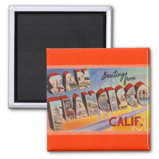 Vintage Travel San Francisco Square Magnet