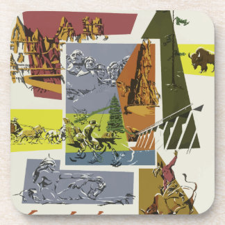 Vintage Travel South Dakota USA Coaster