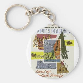 Vintage Travel South Dakota USA Keychain