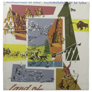 Vintage Travel South Dakota USA Napkin
