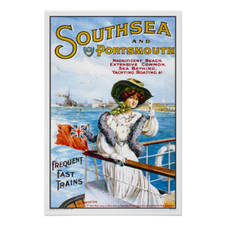 Vintage travel,Southsea Poster