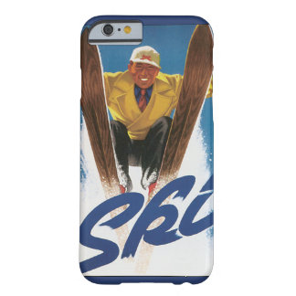 Vintage Travel, Sports Skier Skiing in Winter Snow Barely There iPhone 6 Case