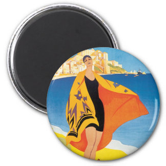 Vintage Travel, Summer Beach with Woman at Calvi 2 Inch Round Magnet