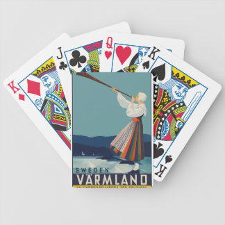 Vintage Travel Sweden Bicycle Playing Cards