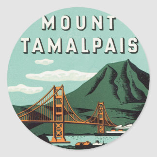 Vintage Travel, Tamalpais Mountain or Mount Tam Classic Round Sticker