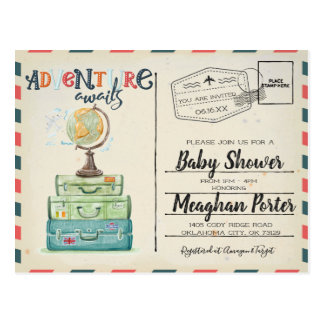 Vintage Travel Themed Baby Shower Invitation Postcard