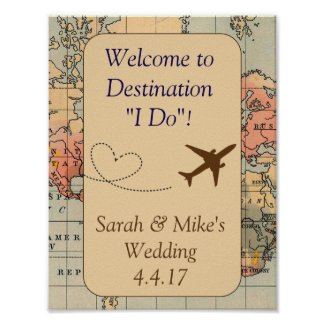 Vintage Travel Themed Decoration-Wedding Sign