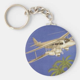 Vintage Travel to Cairo, Eygpt, Biplane Airplane Keychain