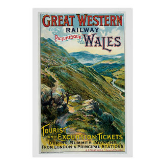 Vintage travel to Wales advert Poster