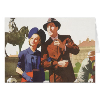 Vintage Travel, Tourists on Vacation Sightseeing Card