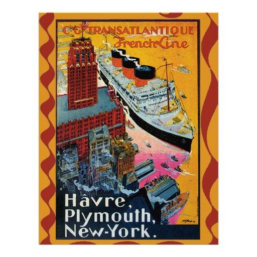 Vintage Travel - Transatlantic French Line Letterhead Template