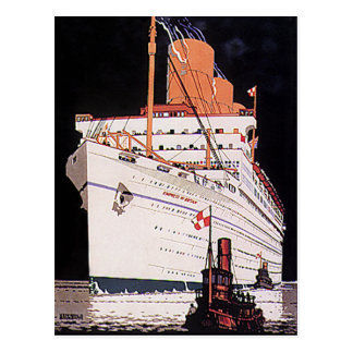 Vintage Travel Transportation Cruise Ship at Night Postcard