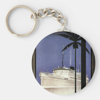 Vintage Travel Tropical Cruise Ship and Palm Trees Basic Round Button Keychain