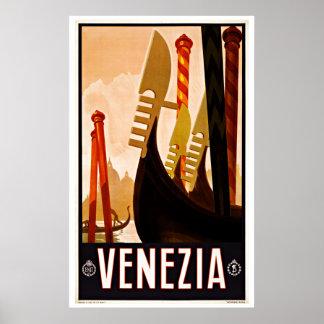 Vintage Travel Venezia Italy Gondola Boat Poster