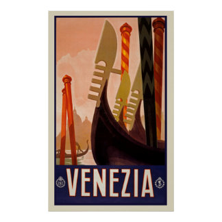 Vintage Travel Venezia Italy Poster