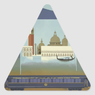 Vintage Travel Venice Orient Express Triangle Sticker