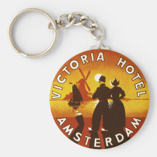 Vintage Travel, Victoria Hotel, Amsterdam, Holland Basic Round Button Keychain