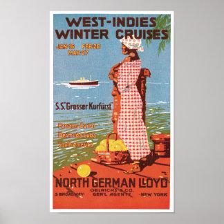 Vintage Travel West Indies Cruises Ad Art Print Po