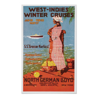 Vintage Travel West Indies Cruises Ad Art Print Po