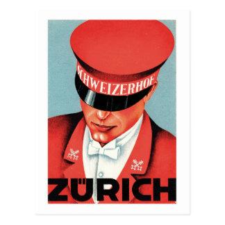 Vintage Travel Zurich Switzerland Label Art Postcard
