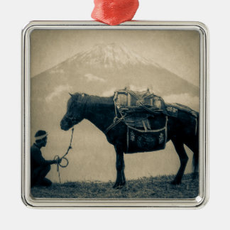 Vintage Traveler and His Horse  on way to Mt. Fuji Metal Ornament