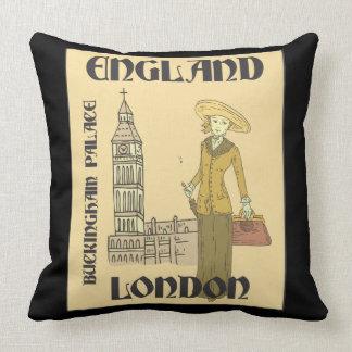 Vintage Traveler England London Buckingham Big Ben Throw Pillow