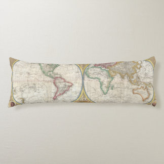 Vintage Traveler World Map Body Pillow