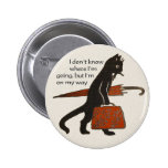 Vintage Travelling Black Cat Round Button Pin